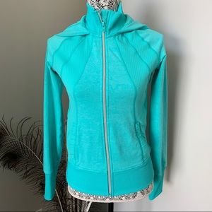 LORNA JANE Hooded Zip Jacket Turquoise Size Small